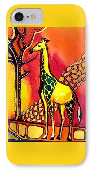 IPhone Case featuring the painting Giraffe With Fire  by Dora Hathazi Mendes