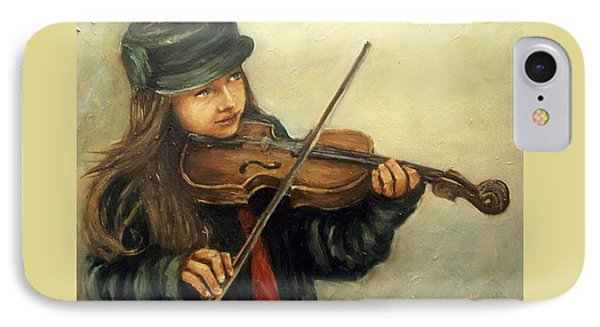 Girl And Her Violin IPhone Case by Natalia Tejera