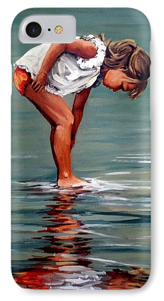 Girl At Shore  IPhone Case by Natalia Tejera