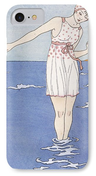 Girl At The Beach IPhone Case by Georges Barbier