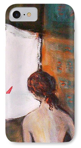 IPhone 7 Case featuring the painting Girl At The Window by Winsome Gunning