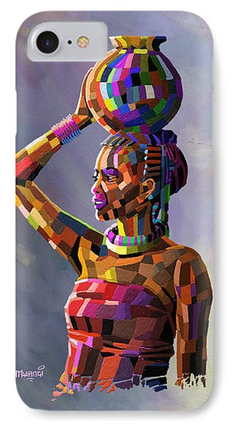 Girl Carrying Water IPhone Case by Anthony Mwangi