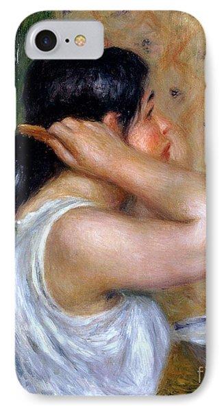 Girl Combing Her Hair Phone Case by Pierre Auguste Renoir