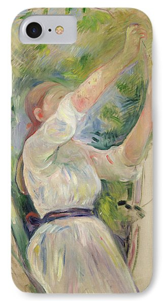 Girl Gathering Cherries IPhone Case by Berthe Morisot