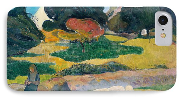 Girl Herding Pigs IPhone 7 Case by Paul Gauguin