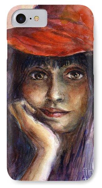 Girl In A Red Hat Portrait IPhone Case by Svetlana Novikova