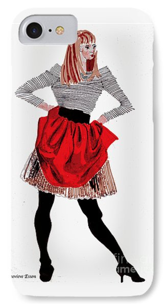 Girl In Red Skirt IPhone Case by Genevieve Esson
