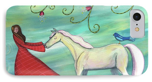 IPhone Case featuring the painting Girl In Red With White Pony by Marti McGinnis