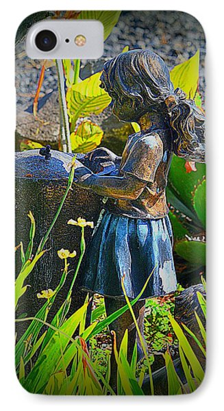 IPhone Case featuring the photograph Girl In The Garden by Lori Seaman