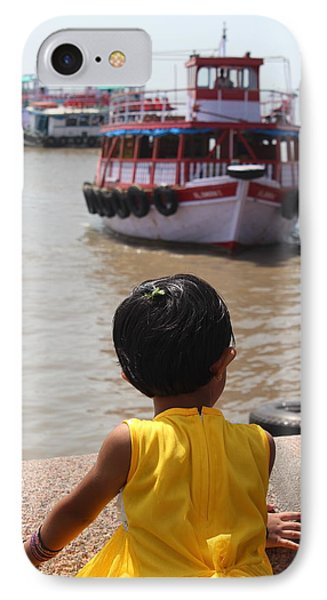 Girl In Yellow Dress W/leaf In Hair Looking At Boats IPhone Case by Jennifer Mazzucco