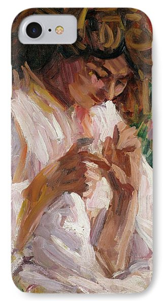Girl Mending IPhone Case by Roderic OConor
