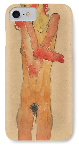 Girl Nude With Folded Arms IPhone Case by Egon Schiele