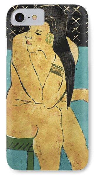 Girl On A Green Stool IPhone Case