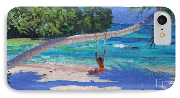 Girl On A Swing, Seychelles IPhone Case by Andrew Macara