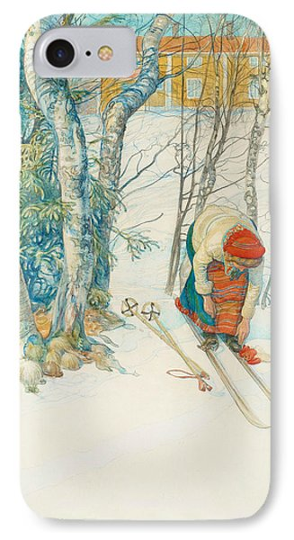 Girl On Skis IPhone Case by Carl Larsson