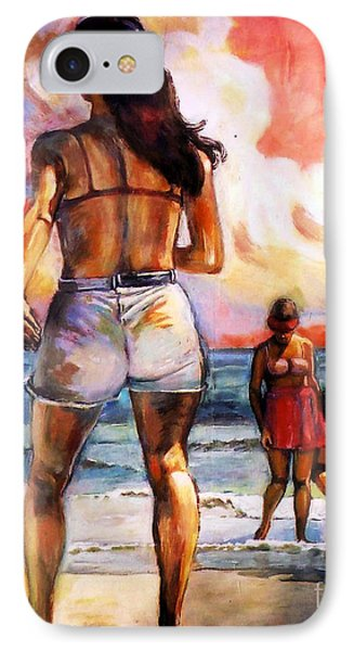 Girl On The Beach IPhone Case by Stan Esson