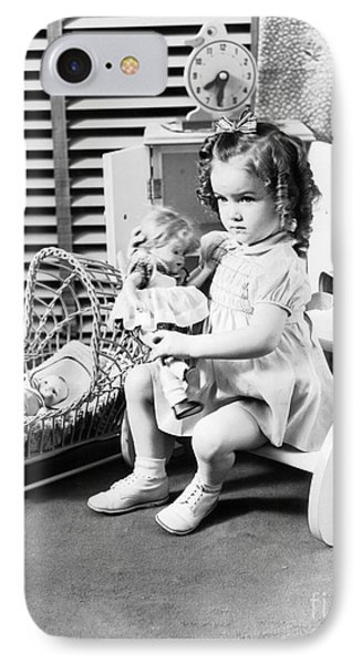 Girl Playing With Dolls, C.1930-40s IPhone Case