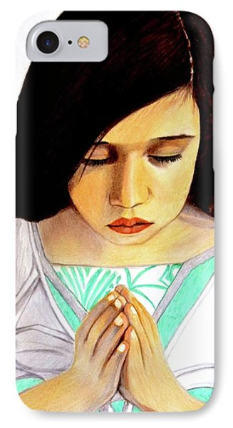 Girl Praying Drawing Portrait By Saribelle IPhone Case by Saribelle Rodriguez