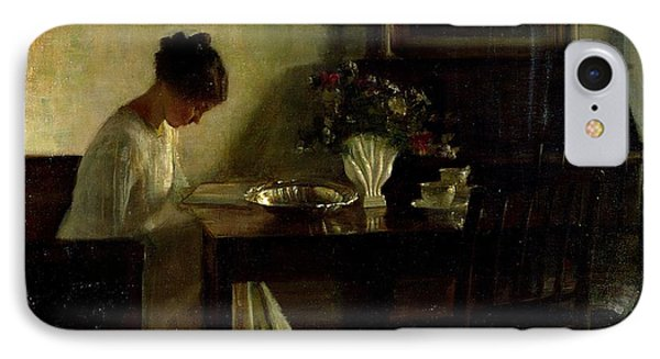 Girl Reading In An Interior  IPhone Case by Carl Holsoe