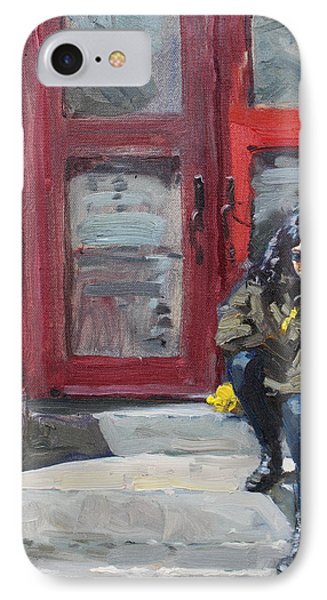 Girl Sitting At Red Doorstep IPhone Case