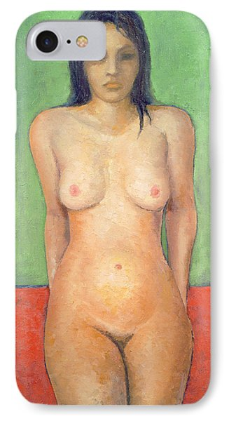 Girl Standing By Abstract IPhone Case by Brian Irving