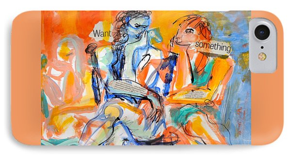 IPhone Case featuring the painting Girl Talk by Mary Schiros