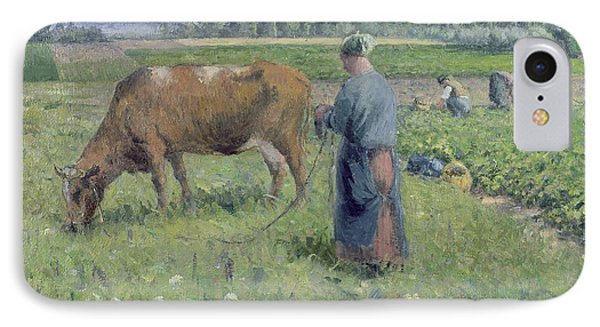 Girl Tending A Cow In Pasture Phone Case by Camille Pissarro