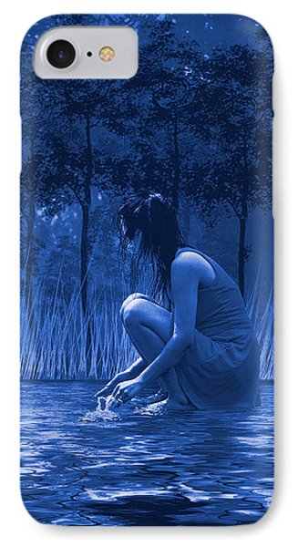 Girl Washing At The River IPhone Case by Diane Schuster
