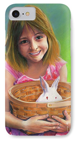 Girl With A Bunny IPhone Case by Jeanette French