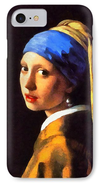 Girl With A Pearl Earring By Johannes Vermeer Revisited - Da IPhone Case