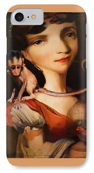 IPhone Case featuring the photograph Girl With A Pet Monkey by Sharon Jones