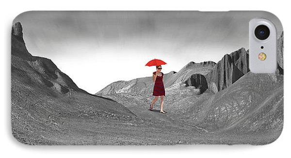 Girl With A Red Umbrella 2 IPhone Case by Mike McGlothlen