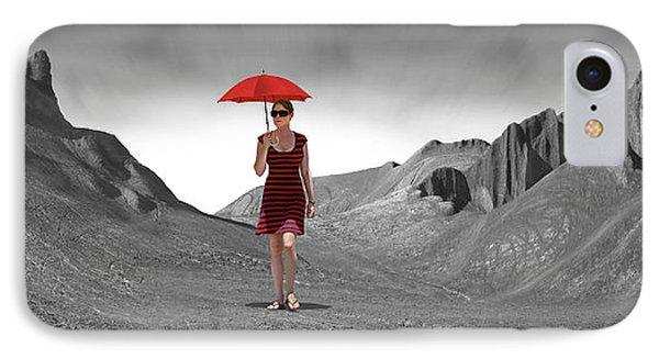 Girl With A Red Umbrella 3 IPhone Case by Mike McGlothlen