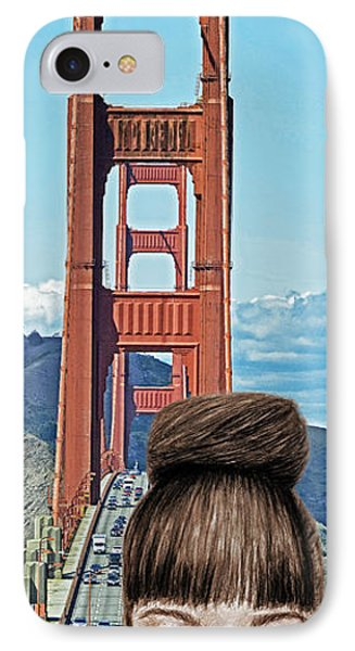 Girl With Bangs And Her Hair In A Bun By The Golden Gate Bridge  IPhone Case by Jim Fitzpatrick