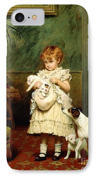 Girl With Dogs IPhone Case by Charles Burton Barber