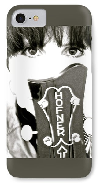 Girl With Hofner Bass IPhone Case