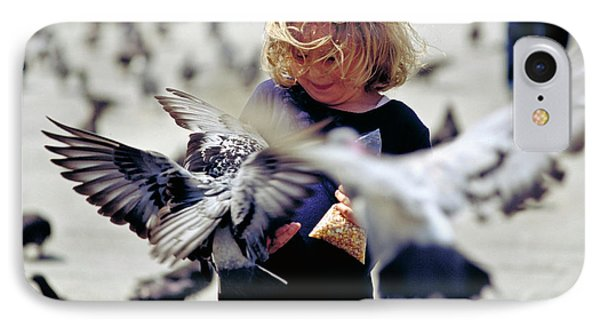 Girl With Pigeons Phone Case by Heiko Koehrer-Wagner