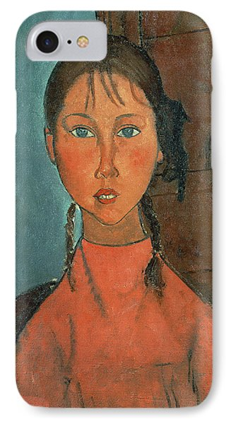 Girl With Pigtails IPhone Case by Amedeo Modigliani