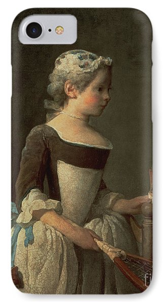 Girl With Racket And Shuttlecock IPhone Case by Jean-Baptiste Simeon Chardin