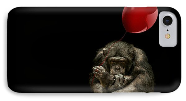 Chimpanzee iPhone 7 Case - Girl With Red Balloon by Paul Neville