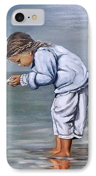 IPhone Case featuring the painting Girl With Shell by Natalia Tejera