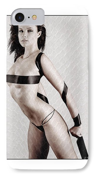 IPhone Case featuring the photograph Girl With Tape Around Her Breasts by Michael Edwards