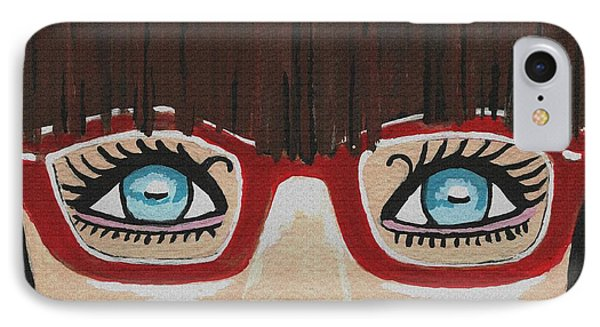 IPhone Case featuring the painting Girl With The Red Glasses by Kathleen Sartoris