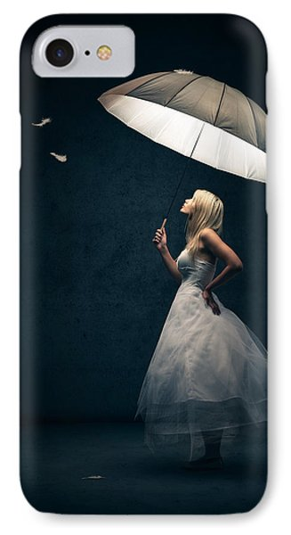 Girl With Umbrella And Falling Feathers IPhone Case by Johan Swanepoel