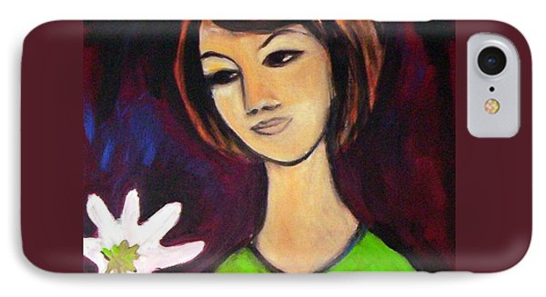 IPhone Case featuring the painting Girl With White Flower by Winsome Gunning