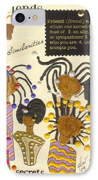 IPhone Case featuring the mixed media Girlfriends  by Angela L Walker
