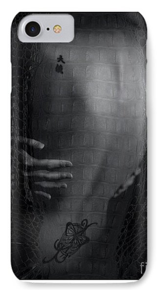 IPhone Case featuring the photograph Girl's Back With Tattoo. Studio Shot by Michael Edwards