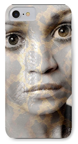 IPhone Case featuring the photograph Girls Face With Snake Skin Texture by Michael Edwards