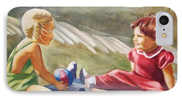 Girls Playing Ball  IPhone Case by Marilyn Jacobson