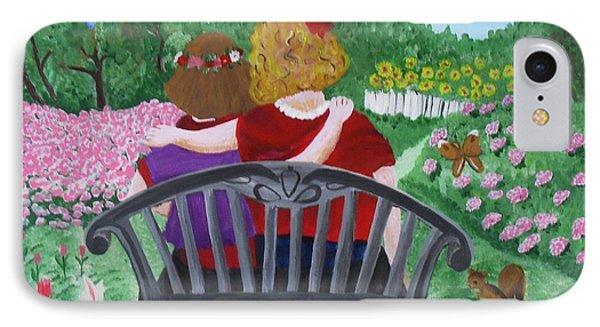 Girls Sitting Phone Case by M Valeriano